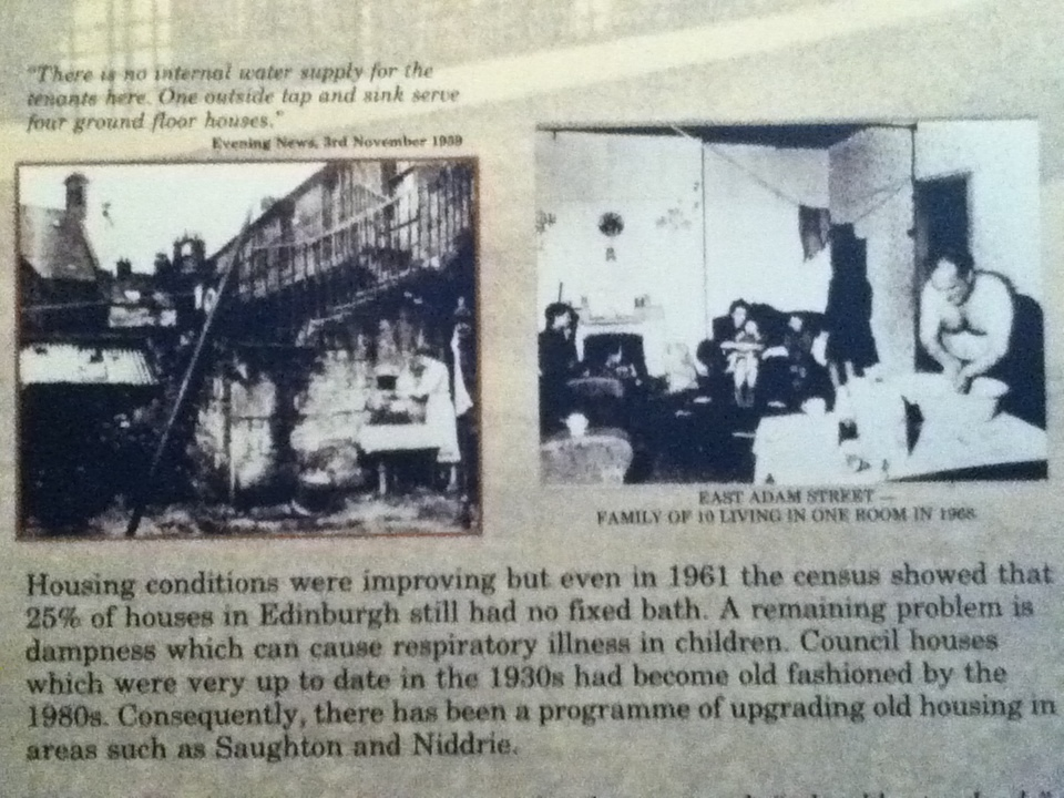 Information board about conditions in Edinburgh flats up to the 1960s.