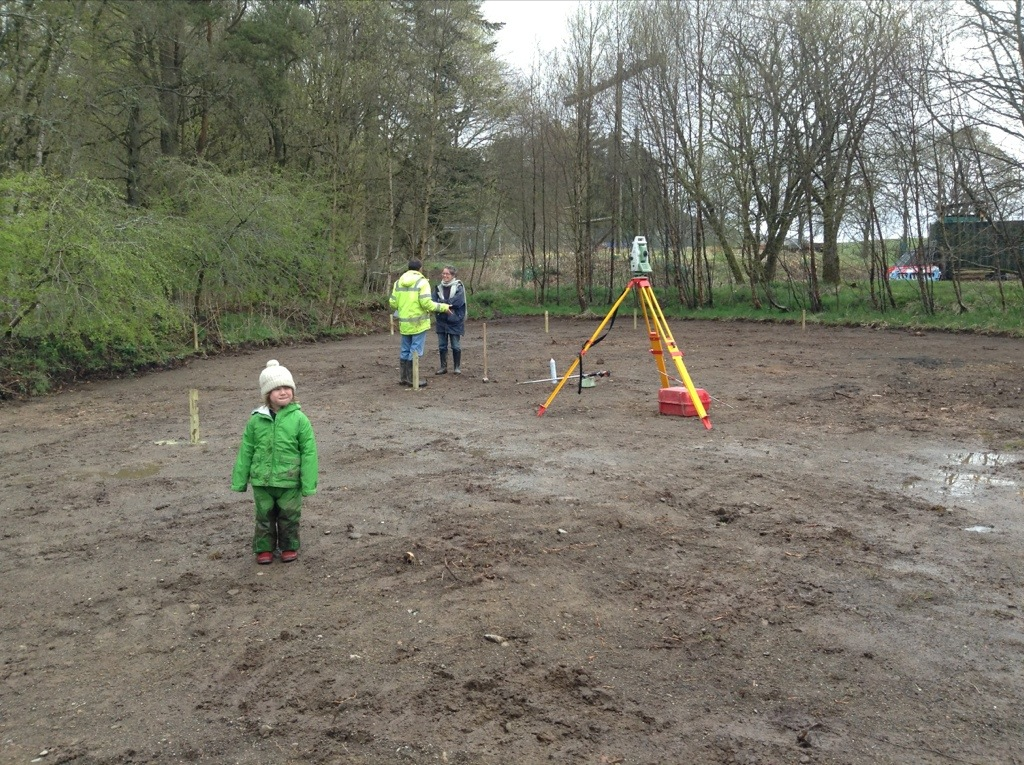 The surveyor setting out the foundations