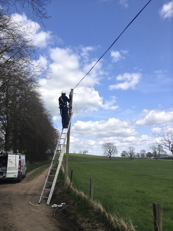BT OpenReach engineer hooking up our phone line.