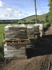 Stones unloaded, lined up, ready for building