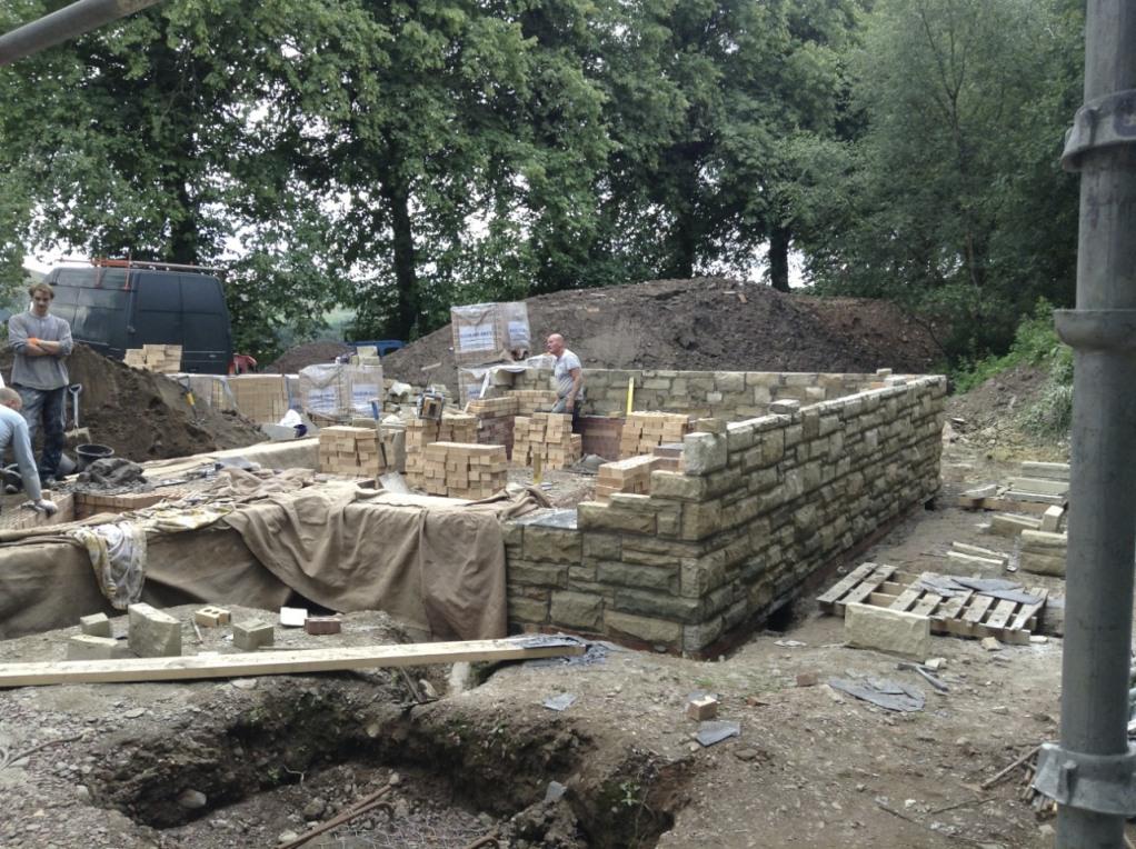 Peerie Hoose plinth walls rising
