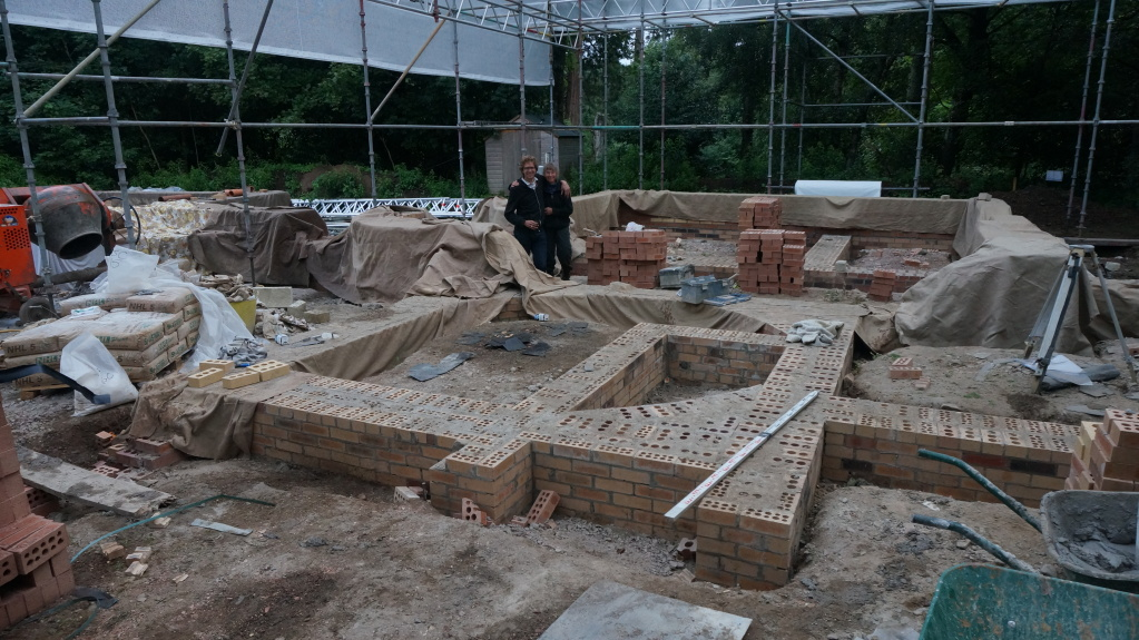 Looking across the bricks which will support the central part of the house and staircase